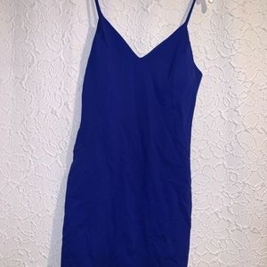 Blue bodycon spaghetti strap dress